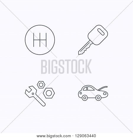 Car key, repair tools and manual gearbox icons. Car repair, transmission linear signs. Flat linear icons on white background. Vector