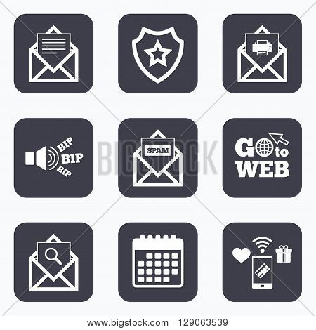 Mobile payments, wifi and calendar icons. Mail envelope icons. Print message document symbol. Post office letter signs. Spam mails and search message icons. Go to web symbol.