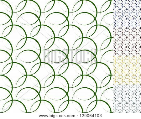 Interlocking Circles, Rings With Dynamic Outline - Set Of 5 Seamless Pattern Background