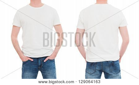 shirt white template mockup tshirt men blank - stock image