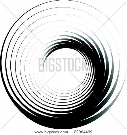Concentric Circles. Radiating, Radial Circles Monochrome Abstract Element. Rotating, Spiral, Vortex