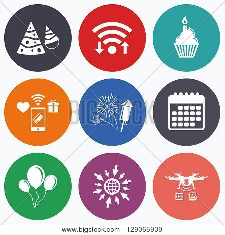 Wifi, mobile payments and drones icons. Birthday party icons. Cake, balloon, hat and muffin signs. Fireworks with rocket symbol. Cupcake with candle. Calendar symbol.