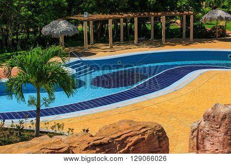 Varadero island, Rio Varadero resort, Cuba, Aug.11, 2014, beautiful amazing view of stylish blue ceramic swimming pool  at Rio Varadero