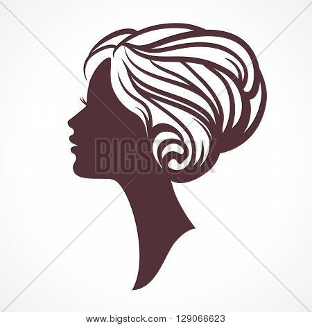 Woman face silhouette. Female head  with stylish hairdo