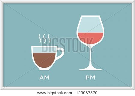 Cup of coffee and glass of wine in cafe with symbol defferent time - morning and evening, am and pm. Poster with coffee and wine for cafe, restaurant and bar. Concept graphic design. Vector Illustration