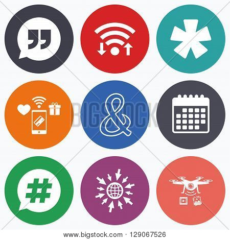 Wifi, mobile payments and drones icons. Quote, asterisk footnote icons. Hashtag social media and ampersand symbols. Programming logical operator AND sign. Speech bubble. Calendar symbol.