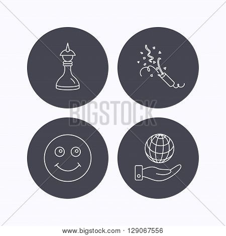 Save planet, slapstick and strategy icons. Smile linear sign. Flat icons in circle buttons on white background. Vector