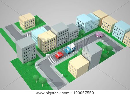 City Top View. Street Traffic. The Three-dimensional City Map with Streets, Buildings, Cars, Pedestrians and Pedestrian Crossings, Zebra Crossings. Digitally Generated Image. Rendering in 3D Program