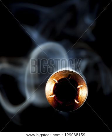 Bullet and smoke that are approaching the camera