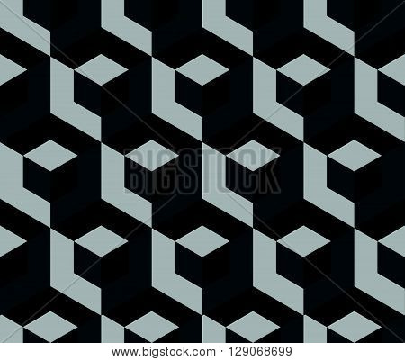 Abstract Monochrome Pattern With Overlapping Squares. Seamless 3D Pattern. Grayscale, Black And Whit
