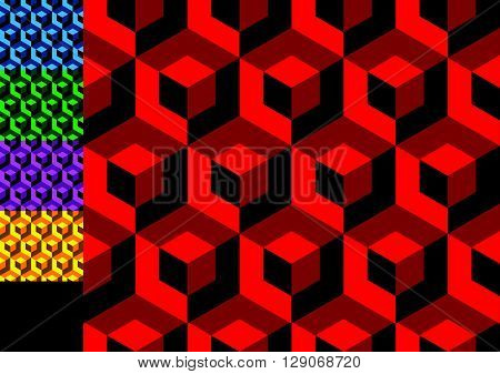 Abstract Monochrome Pattern With Overlapping Squares. Seamless 3D Pattern. (each Tile Is Seamless, 6