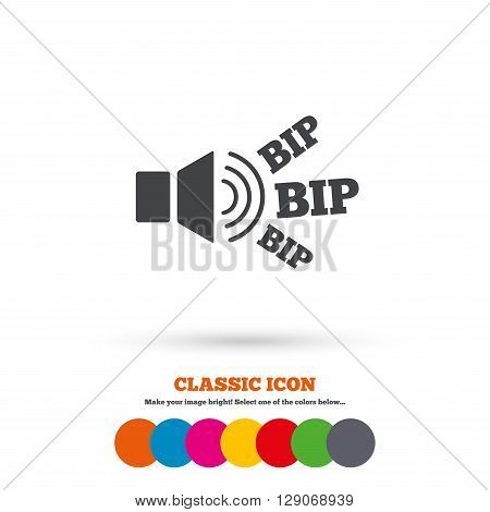 Speaker volume icon. Sound with BIP symbol. Loud signal. Classic flat icon. Colored circles. poster