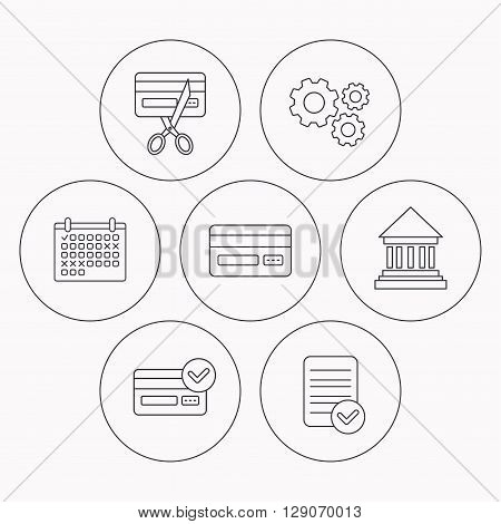 Bank credit card, approved card icons. Expired credit card linear sign. Check file, calendar and cogwheel icons. Vector