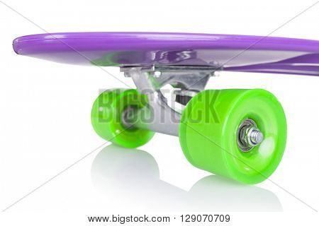 Detail of skateboard wheels, isolated on white background