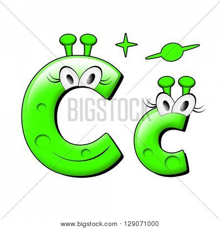 Funny alien alphabet. 3d illustration.