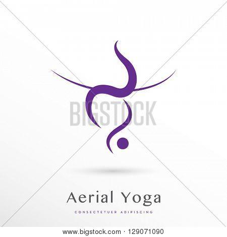 aerial yoga vector icon / logo on white background