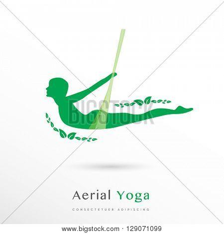 Beautiful green Aerial Yoga vector LOGO / ICON