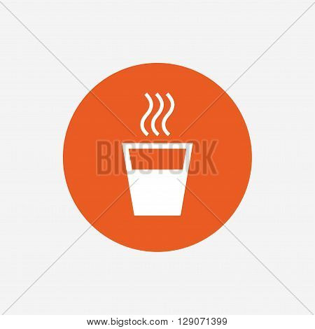 Hot water sign icon. Hot drink glass symbol. Orange circle button with icon. Vector