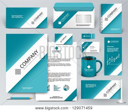 Professional universal branding design kit. White tape, ribbon on blue backdrop. Corporate identity template. Business stationery mock-up. Editable vector illustration: folder, cup, etc.