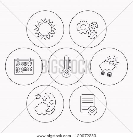 Thermometer, sun and snow icons. Moon night linear sign. Check file, calendar and cogwheel icons. Vector