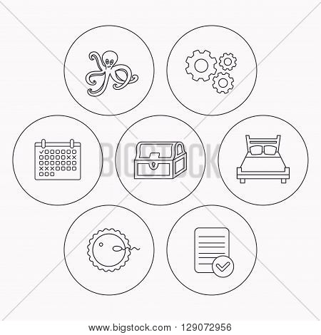 Fertilization, double bed and octopus icons. Treasure chest linear signs. Check file, calendar and cogwheel icons. Vector