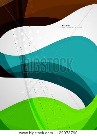 Wave light abstract background- color curve stripes and lines in various motion concepts and with light and shadow effects. Presentation banner and business card message design template set.