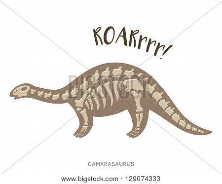 Cartoon card with a camarasaurus skeleton and text Roar. Fossil of a camarasaurus dinosaur skeleton. Cute dinosaur on white background