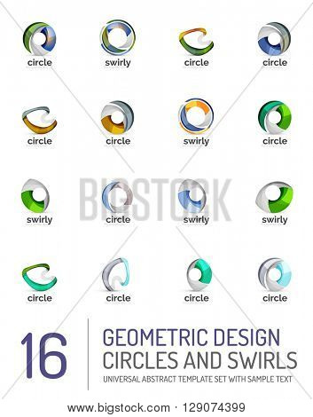 Geometric abstract circles and swirls icon set. Vector symbols isolated on white