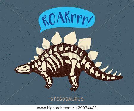 Cartoon card with a stegosaurus skeleton and text Roar. Fossil of a Stegosaurus dinosaur skeleton. Cute dinosaur on blue background