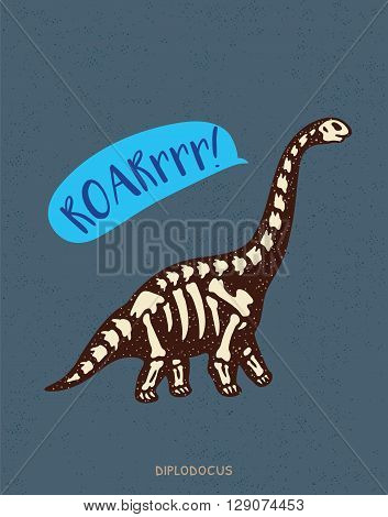Cartoon card with a diplodocus skeleton and text Roar. Fossil of a diplodocus dinosaur skeleton. Cute dinosaur on white background on blue background