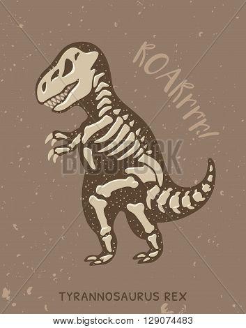 Cartoon card with a tyrannosaurus Rex skeleton and text Roar. Fossil of a T-rex dinosaur skeleton. Cute dinosaur on brown background