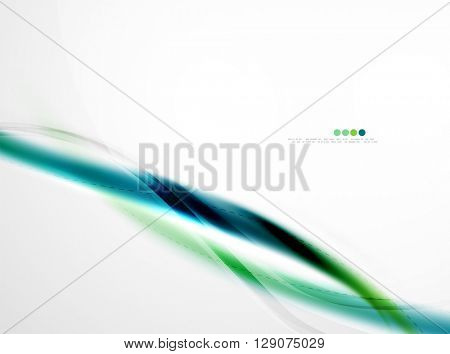 Blue glossy silk wave design template. Vector modern coporate identity pattern