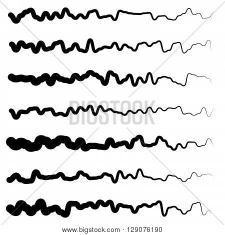 Abstract Irregular Line Set. Different Wavy, Zigzag Dividers, Lines.