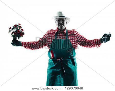gardener man gardening isolated silhouette