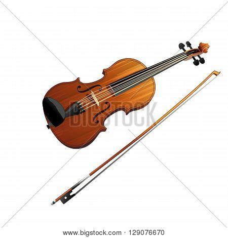Violin vector illustration on a white background