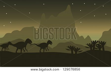 Silhouette of tyrannosaurus family with star at the night