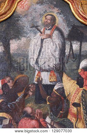 KOTARI, CROATIA - SEPTEMBER 16: Saint Francis Xavier on the Saint Anthony altar in the church of Saint Leonard of Noblac in Kotari, Croatia on September 16, 2015.