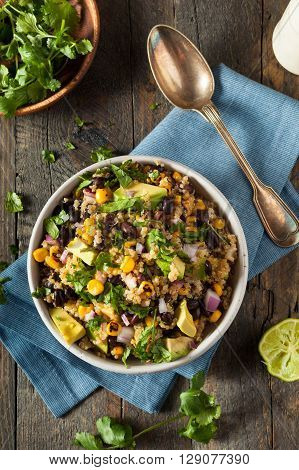Homemade Southwestern Mexican Quinoa Salad with Beans Corn and Cilantro poster