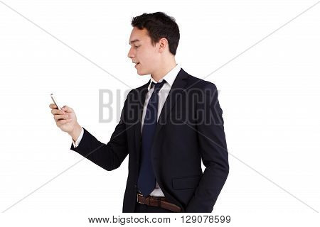 Young Caucasian Business Man Looking At Mobile Phone Smiling
