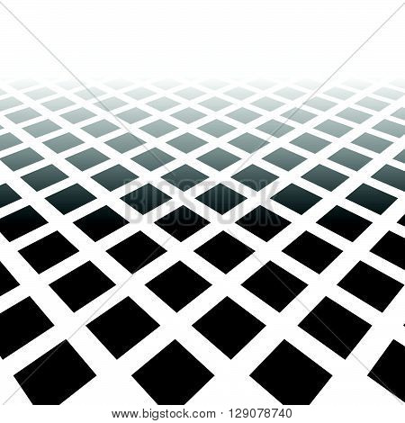 Fading Mosaic Of Squares. Vanishing Pattern In Perspective.