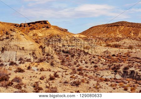 a view of the desert of Tabernas, in the Province of Almeria, Spain