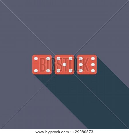 Craps icon. Flat vector related icon with long shadow for web and mobile applications. It can be used as - logo, pictogram, icon, infographic element. Vector Illustration.