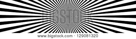 Converging Lines, Starburst, Sunburst Background In Wide Format. Black And White Beams