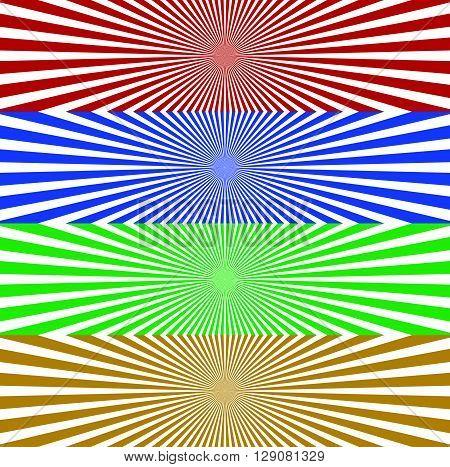 Starburst / Sunburst Banner Background In 4 Color. Converging, Radiating, Radial Lines Horizontal Ba