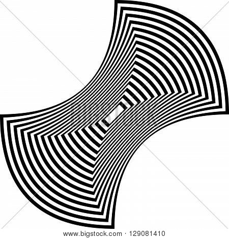 Abstract rectangle shape - Squeezed concave black and white geometric rectangular element. poster