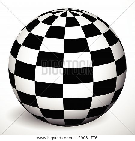 Checkered 3d sphere with shading and shadow. Orb ball with squares texture. Spatial globe isolated on white poster