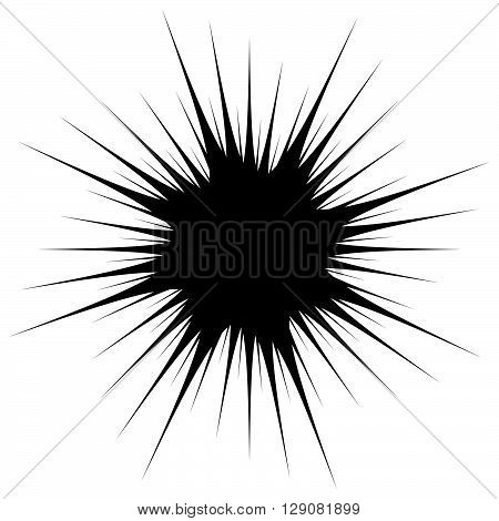Silhouette Of Spiky, Edgy Shape On White. Explosion Shape