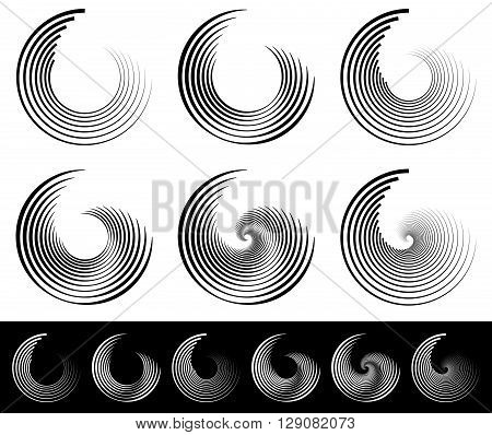Spiral, Vortex, Whorl, Swirl Shapes. Abstract Element(s).