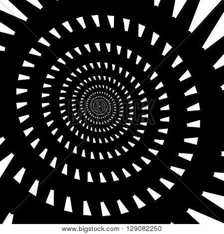 Abstract Spiral, Vortex Graphic. Inward Spiral. Artistic Monochrome Image.