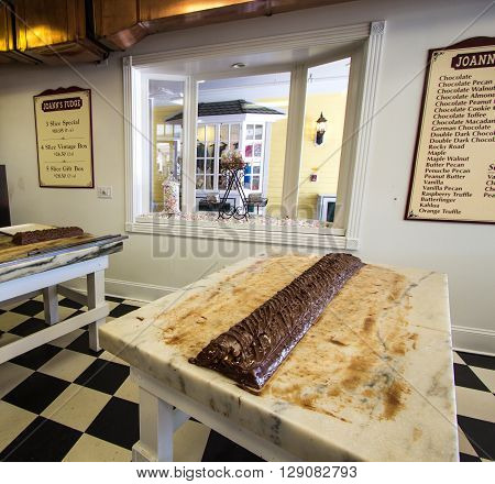 Mackinac Island, Michigan, USA - May 6, 2016: Joann's Fudge Shop opened on Mackinaw Island in 1969. The island is world famous for it's fudge shops and tourists are often referred to as fudgies.